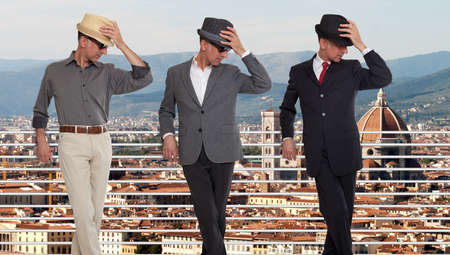 clones: Three clones or triplets in Florence, Italy Stock Photo