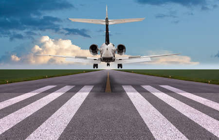 Rear view of a private jet landing Editorial