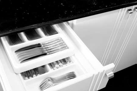 drawers: Silverware in kitchen drawer