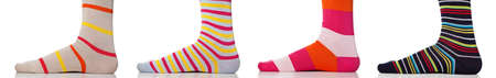Feet close up wearing colorful socks