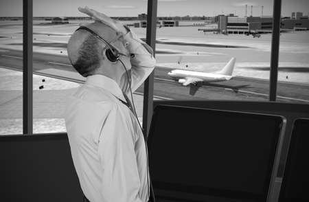 traffic controller: Air traffic controller at work Stock Photo