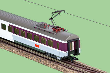 goods train: Toy train dining car Stock Photo
