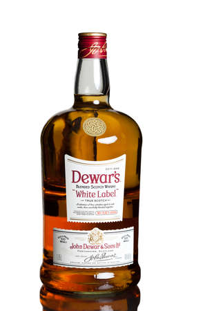 hugely: MIAMI, USA - February 12, 2015: Dewars White Label remains a hugely popular blend, especially Stateside. Dewars whiskies have won more than 400 awards and medals in over 20 countries.