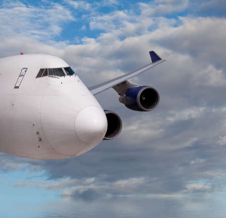 Close up view of a passenger jet