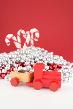 christmas train: Toy Christmas Train Stock Photo