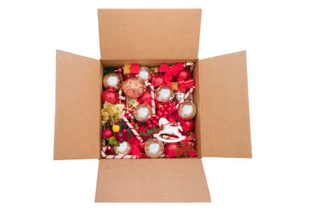 Box of colorful Christmas ornaments.