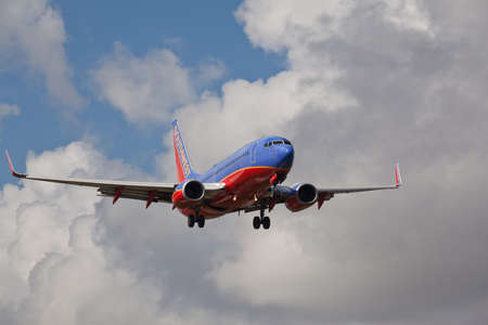 FORT LAUDERDALE, USA - JUNE 2, 2015: Southwest Airlines Boeing 737 landing at the Fort LauderdaleHollywood International Airport. Editorial