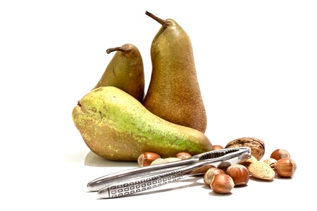Pears, nuts, almonds and walnuts