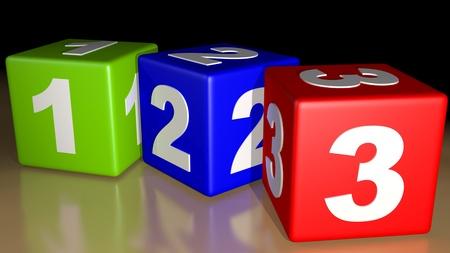 123 multicolor cubes Stock Photo
