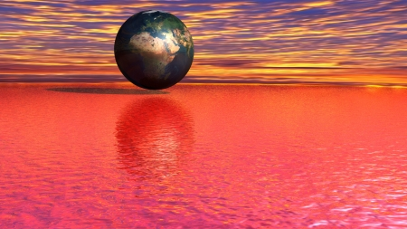 The earth on a red sea