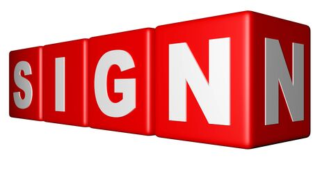 Sign red cubes Stock Photo