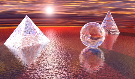 Mystery - Pyramid, Sphere and cone on a seascape on sunset