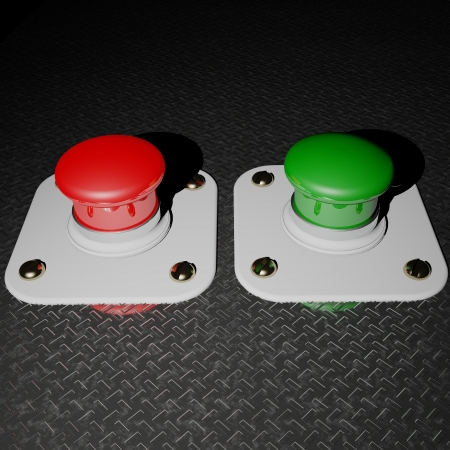 Green and red pushbuttons photo