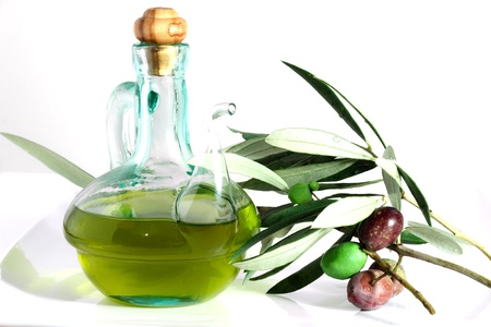 Olive oil and olives Standard-Bild