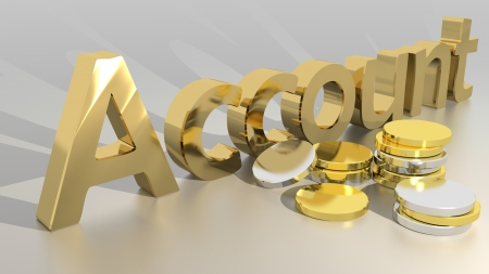 Account with coins Standard-Bild
