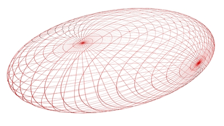 Red wireframe ovoid - Mathematical object Stock Photo