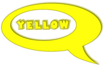 speak english: Yellow cartoon in talk cloud