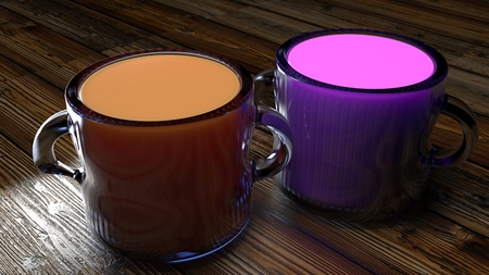 Glass mugs of fruit juices