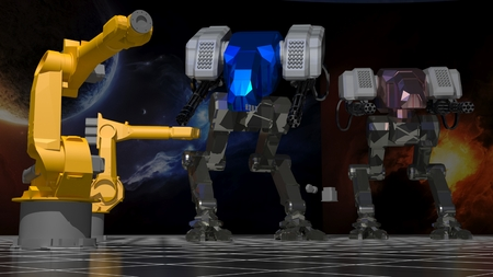 technological evolution: Space robots Stock Photo
