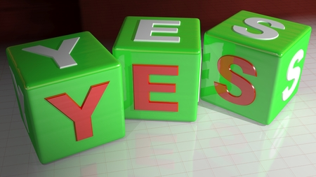 passed test: Yes cubes Stock Photo