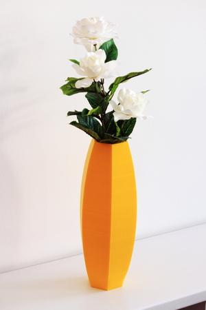 Yellow hexagonal vase