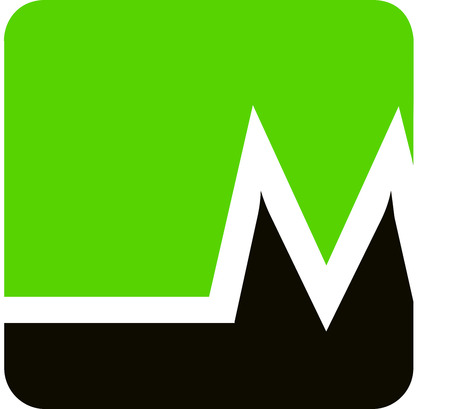 linearity: M logo in green and black