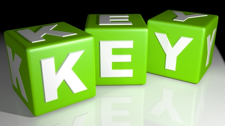 credentials: Green cubes key Stock Photo