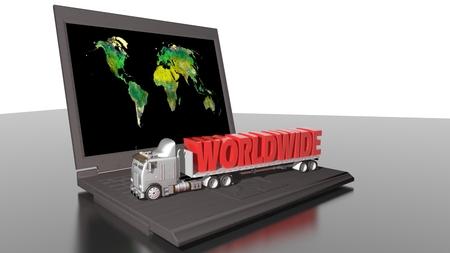 Worldwide transportation and computer Stock Photo