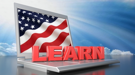 Learn american with computer Stock Photo