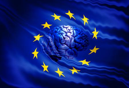 european: European flag with brain