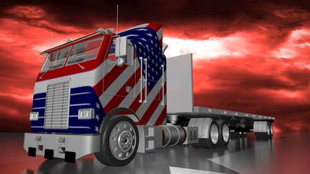 stormy sky: American truck on stormy sky