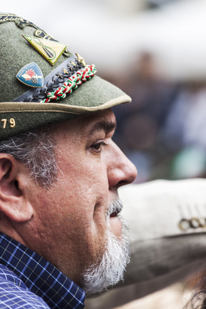 Old alpine military man portrait: this man is partecipating to the gather of the alpine militaries happened in may 2014 in Pordenone (Italy)