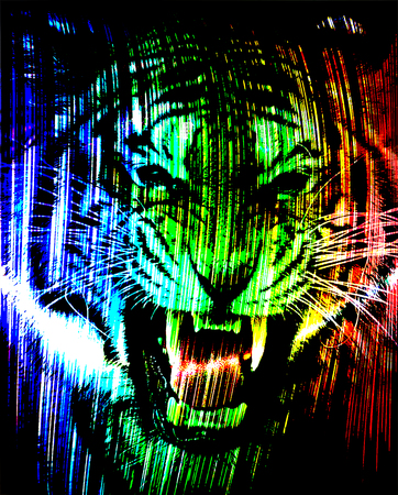 Angry tiger face Stock Photo