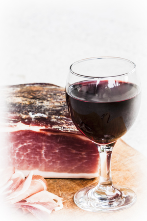Italian speck with red wine