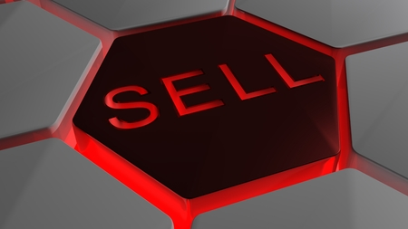 sell: SELL on futuristic hexagons in red backlight Stock Photo