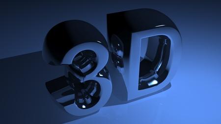 xyz: 3D metallic blue Stock Photo