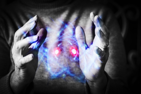 atomic energy: Womans hands controlling atomic energy