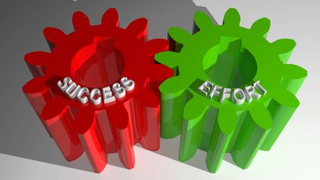 Success and Effort mating gears Stock Photo
