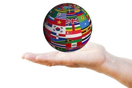 Sphere with flags on woman's hand 免版税图像
