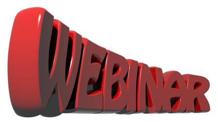 informatics: WEBINAR written with three-dimensional red letters on white background