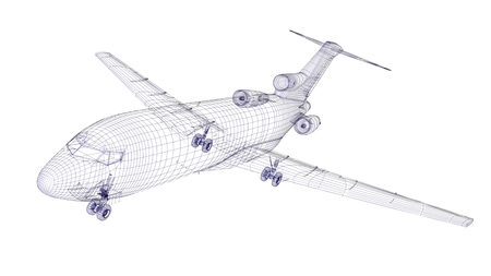 Blue wireframed aircraft model
