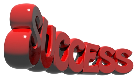 SUCCESS written in red three-dimensional letters on a white background Stock Photo