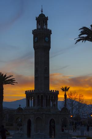 Red sunset at the clock tower of Izmir (Turkey) Stock Photo
