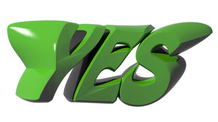 YES funny green on white background