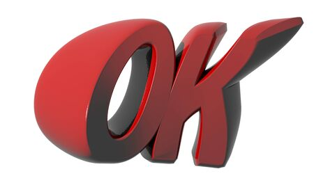 OK funny red on white background Stock Photo
