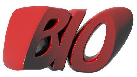 BIO written with red 3D letters on white background