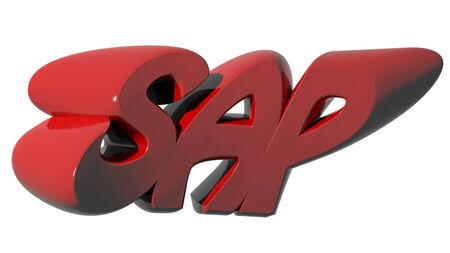 SAP written with red 3D letters on white background