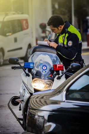 Traffic policeman on the street in Izmir (Turkey)