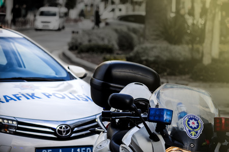 Car and bike of turkish police on the street
