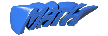 MATH written with funny 3D blue letters on white background